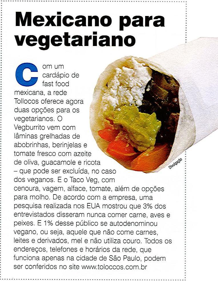 Tollocos lança novo Burrito para Vegetarianos